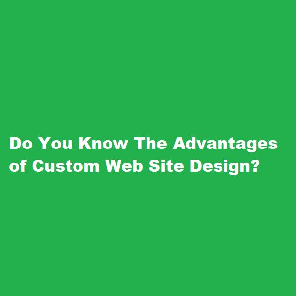 Do You Know The Advantages of Custom Web Site Design